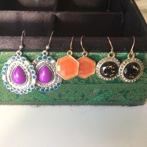 Purple orange Black 3 pairs earrings